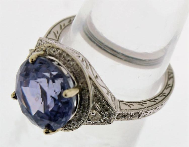 14k Gold, Diamond and Sapphire Ring