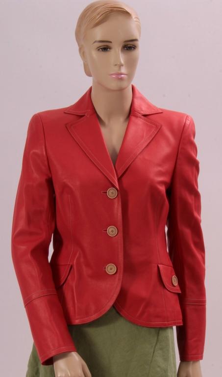 Akris Orange Leather Jacket