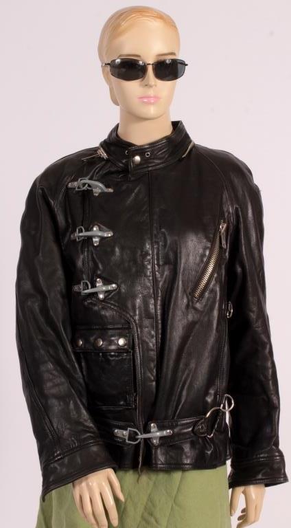Black Leather Bomber Flight Jacket w/Hood