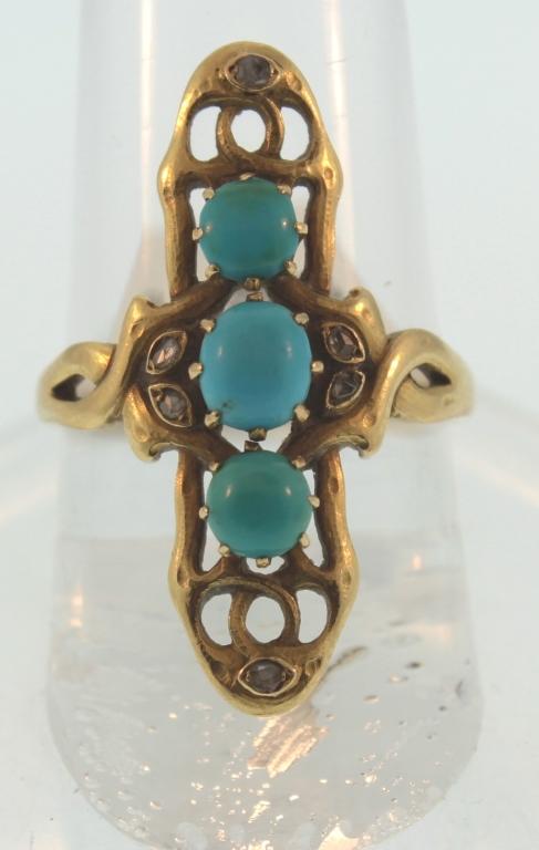 Russian Gold, Turqouise & Diamond Ring