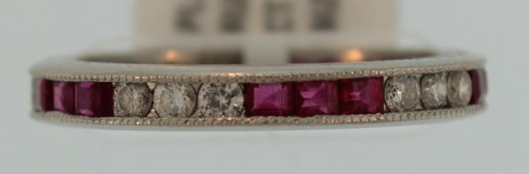Platinum Diamond & Ruby Eternity Ring