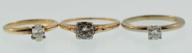 Three 14K Gold and Diamond Rings