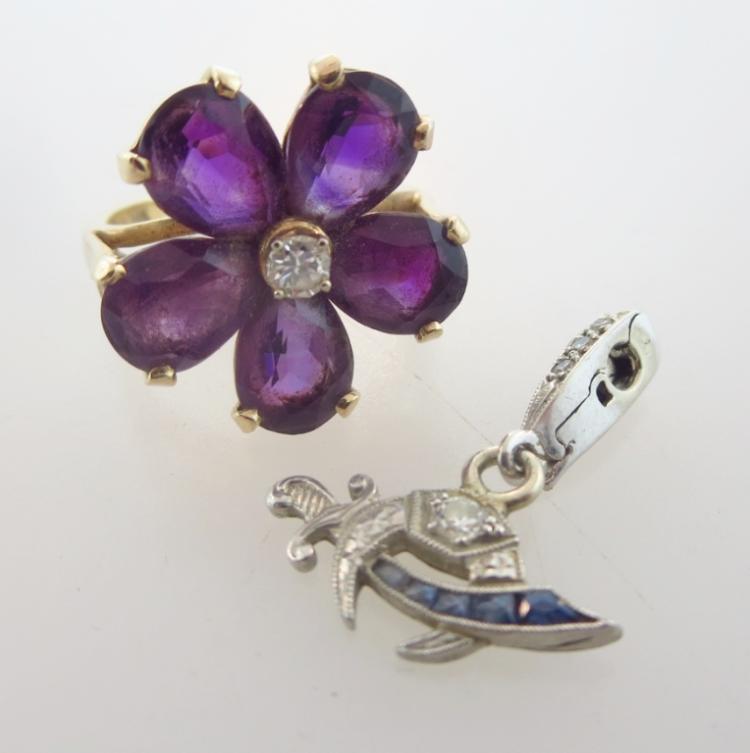 Tiffany & Co. 14k Gold, Diamond & Amethyst Ring