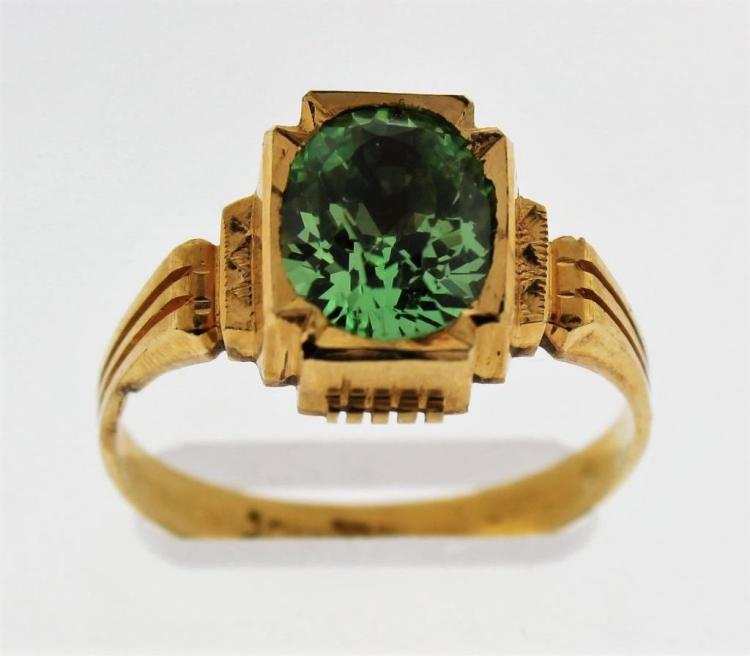 22K Gold and Peridot Ring