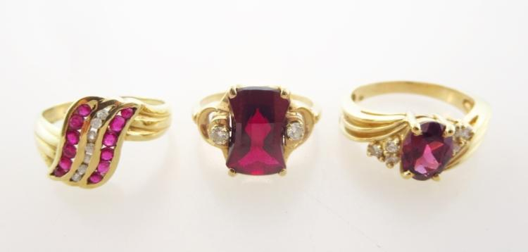 14K Gold, Diamond, Ruby and Garnet Rings