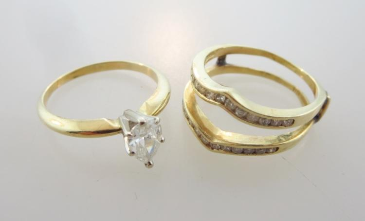 14K Yellow Gold and Diamond Ring Set