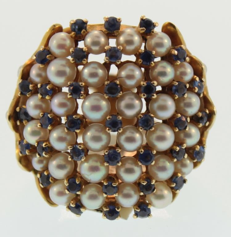 14k gold, pearl and sapphire dinner ring c.1940