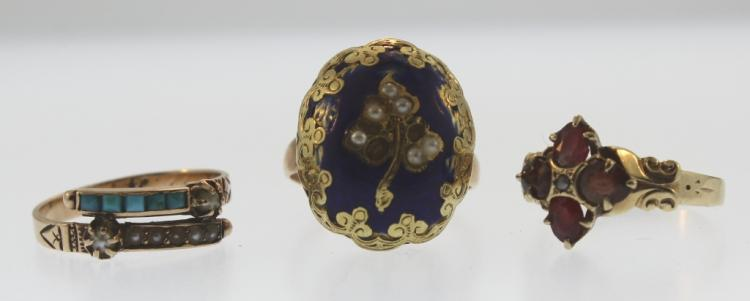 3 Antique Gold Rings, Precious Stones & Seed Pearl