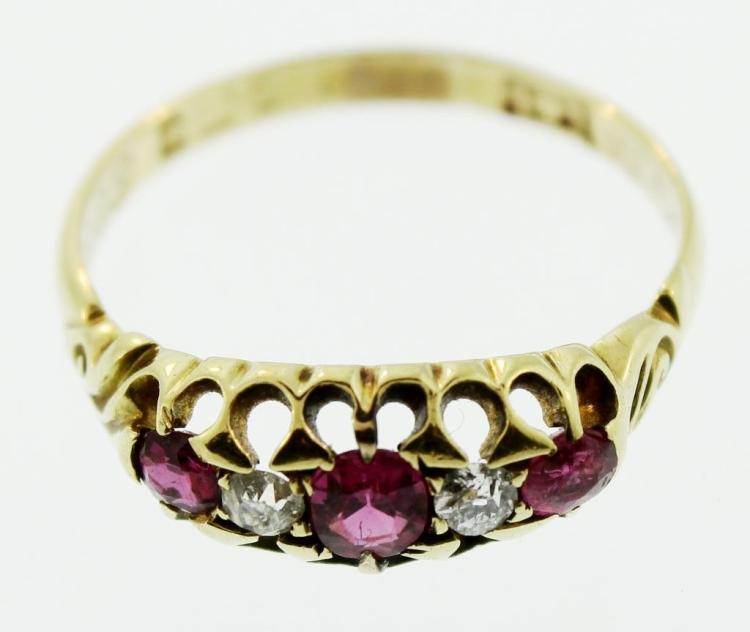 18K Gold, Ruby & Diamond Ring, Edwardian