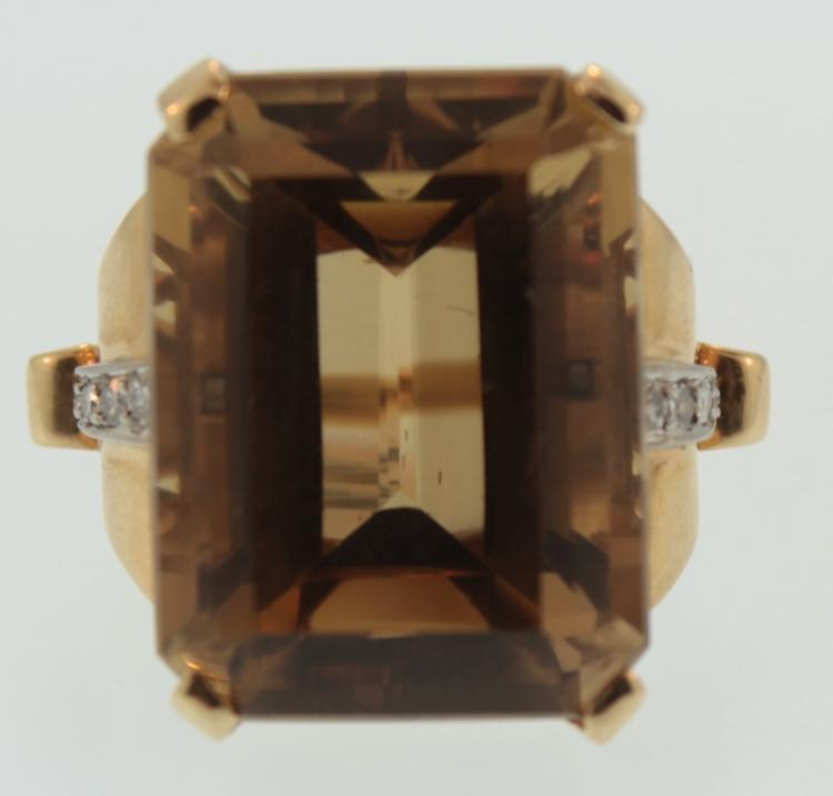 14K Diamond & Citrine Cocktail Ring