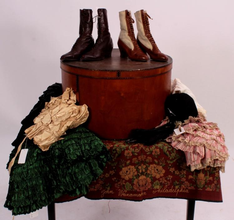Victorian Clothing Accessories w/ Antique Hat Box
