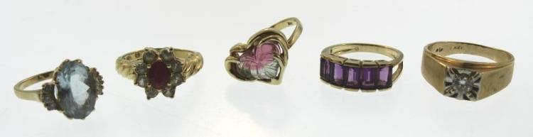 Five 14K Rings w/ Diamonds & Other Stones