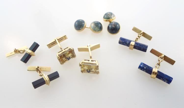 Four Pairs of 14k Gold Cufflinks