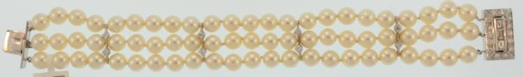 14k gold,diamond and pearl bracelet c.1950