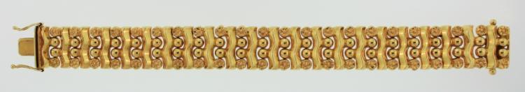 18K Yellow Gold Bracelet, Wavy Design