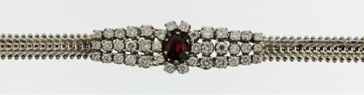 18k Gold, Diamond and Ruby Bracelet