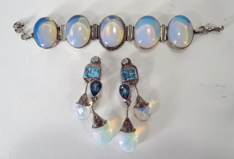 Opalescent Blue Bracelet and Sajan Earrings
