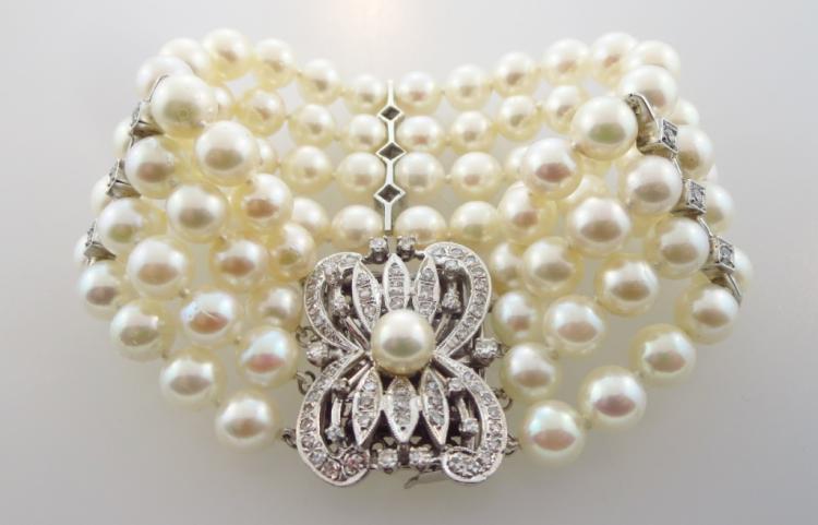 White Gold, Diamond, & Pearl Bracelet