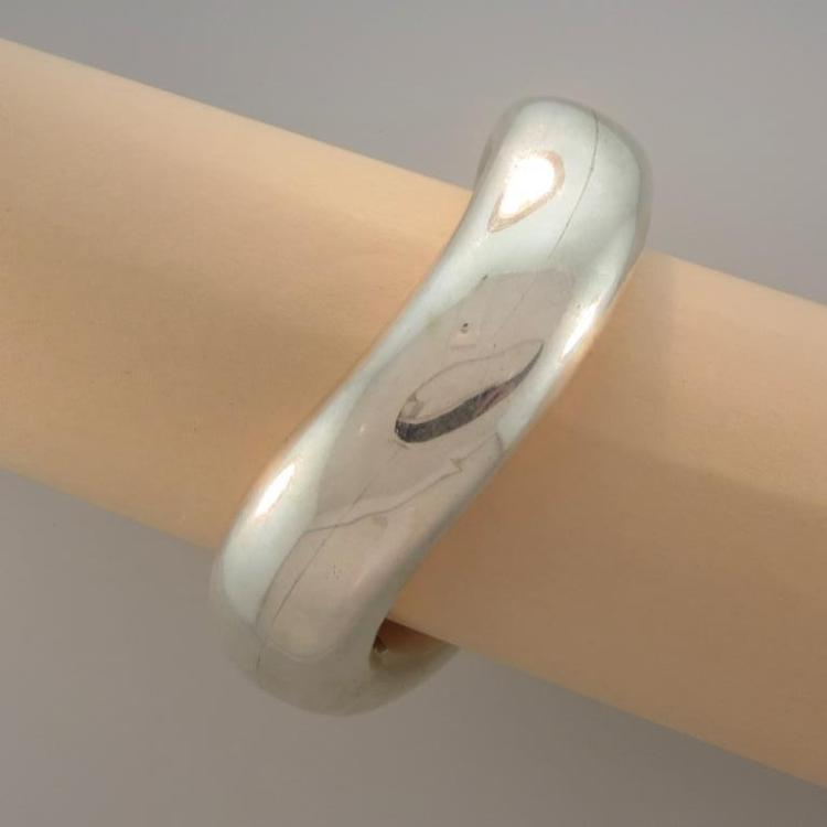 Sterling Silver Cast Curved Bangle