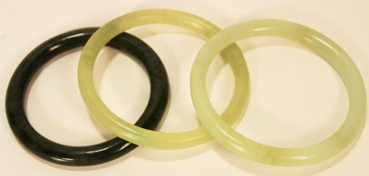 Three Green Jade Bangle Bracelets
