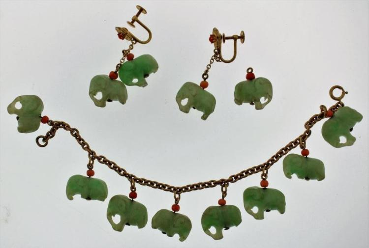 14k, Carved Jade & Coral Bracelet Earring Set