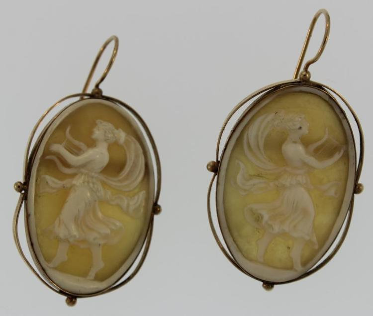 Pair of Carved Shell Cameo Earrings