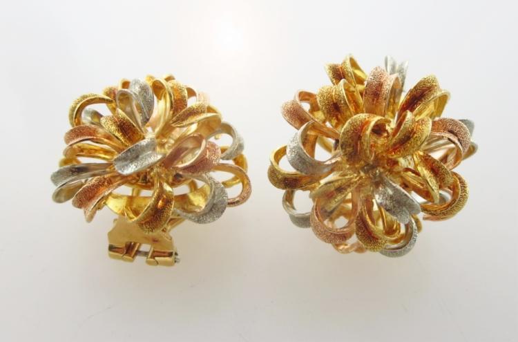Pair of 18K Gold Italian Clip Earrings