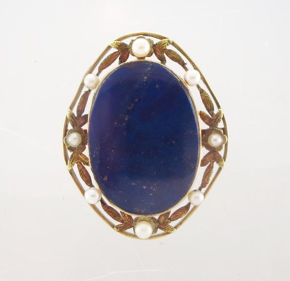 14K Gold Lapis Lazuli & Seed Pearl Brooch