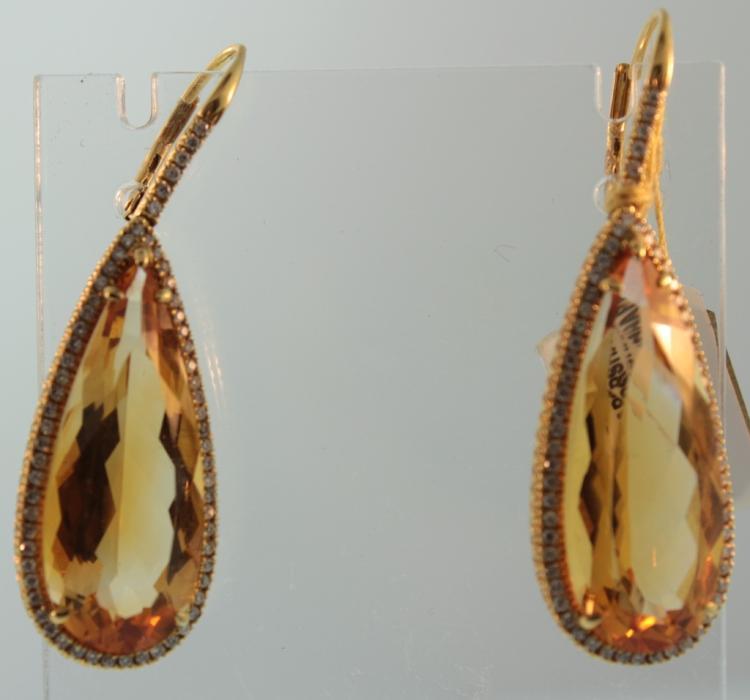 18K Gold, Citrine & Diamond Earrings