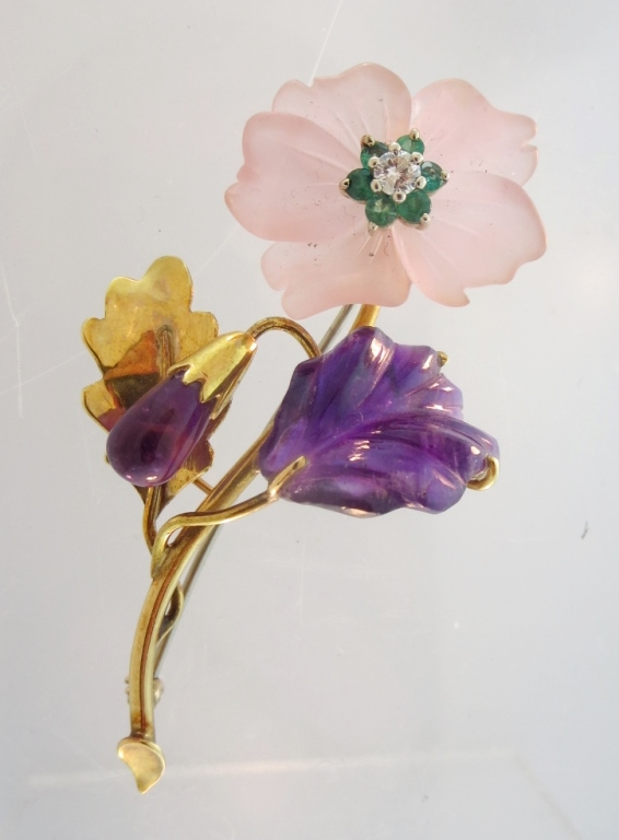 18K Floral Diamond & Multi Stone Brooch