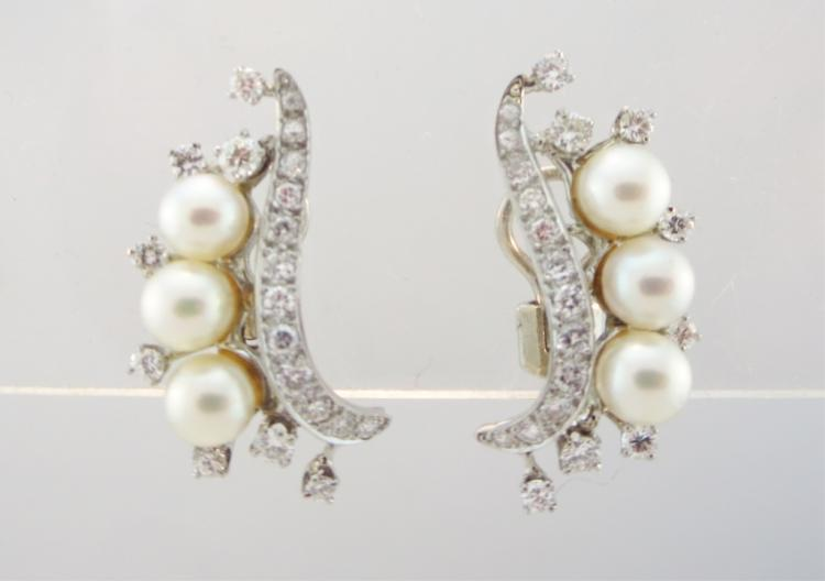 14K, Diamond, & Pearl Earrings
