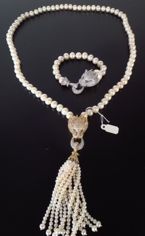 Pave Set Crystal Big Cat Clasp Pearls