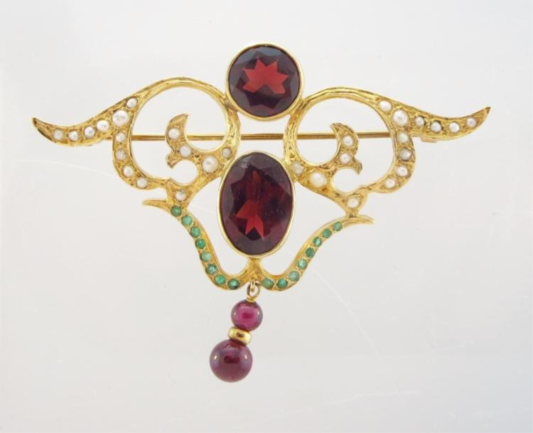 14K Gold, Emerald, Garnet & Pearl Victorian Brooch