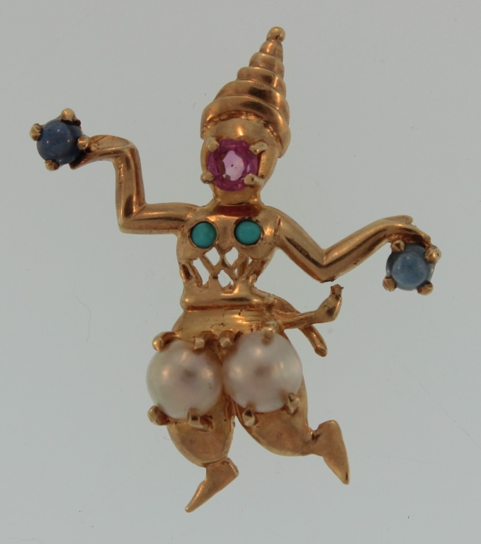 14k gold jeweled brooch,dancing girl, c.1940
