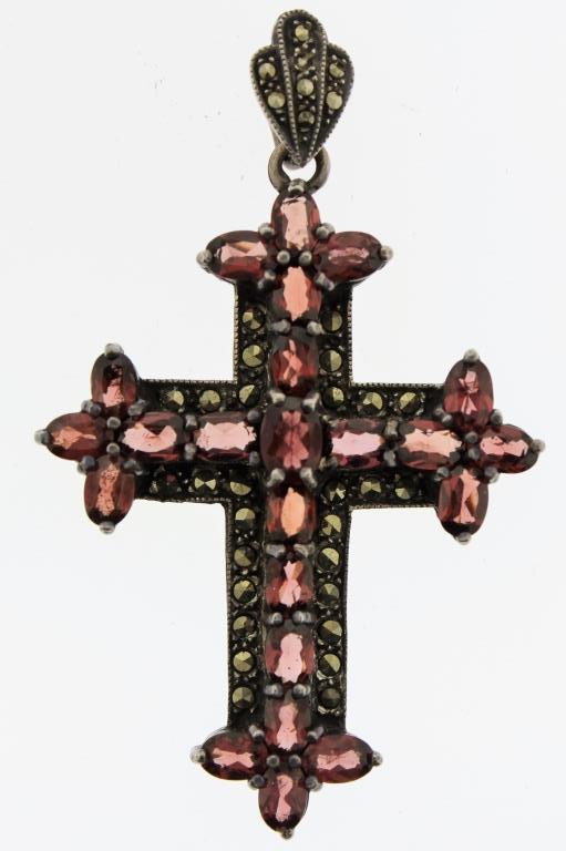 Sterling, Garnet & Marcasite Cross Pendant