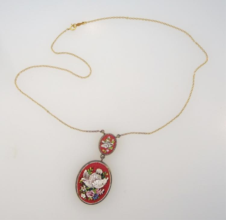 19th C. Micro Mosaic Pendant, on 14K Gold Chain