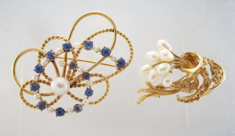Two 14K Yellow Gold & Pearl Brooches