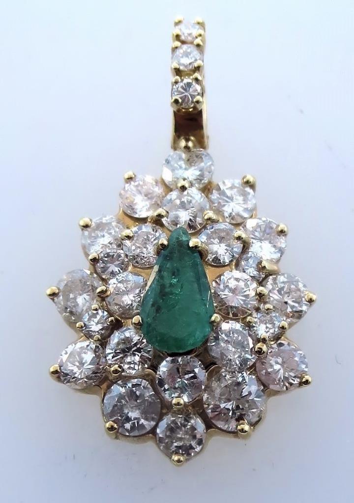 14K Yellow Gold, Diamond and Emerald Pendant