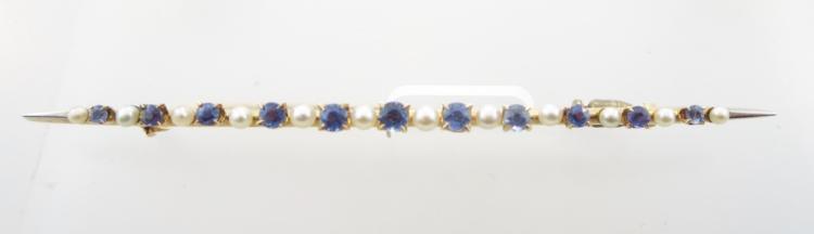 14k Gold, Pearl, & Sapphire Bar Pin