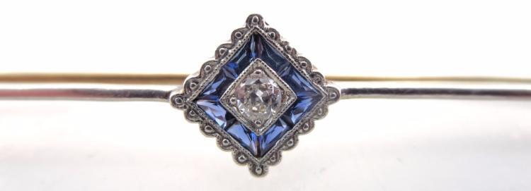 14K Gold, Diamond, Platinum and Sapphire Bar Pin