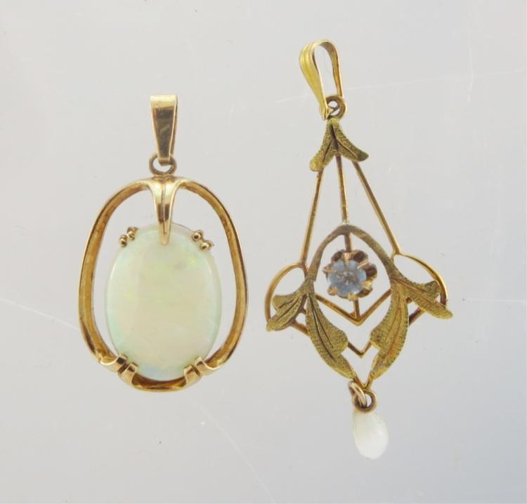2 Pendants; 9K Gold & Opal, & 10K Aquamarine