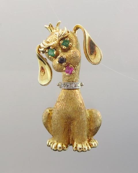 14K Y Gold Diamond & Semi Precious Stone Pin