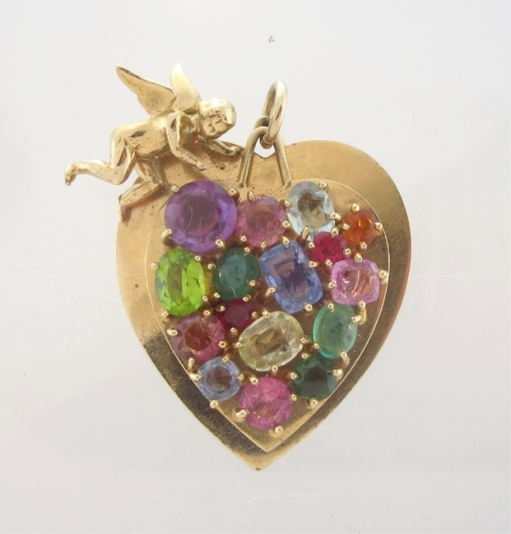 14K Gold Pendant with Sapphires