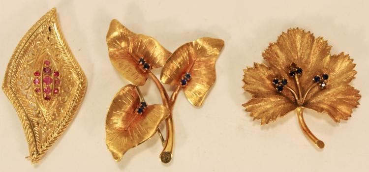 Three 18k Gold Flower/Leaf Brooches