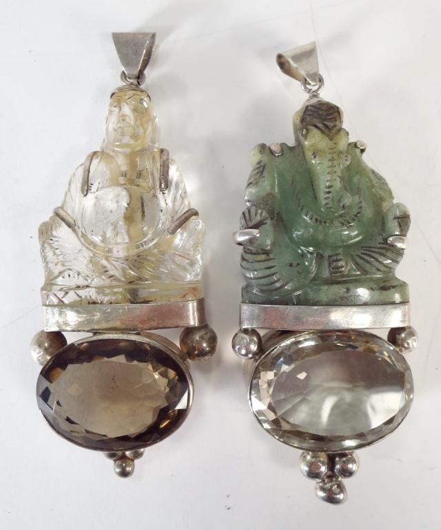 Jade Ganesha Pendant & Rock Crystal Buddha Pendant
