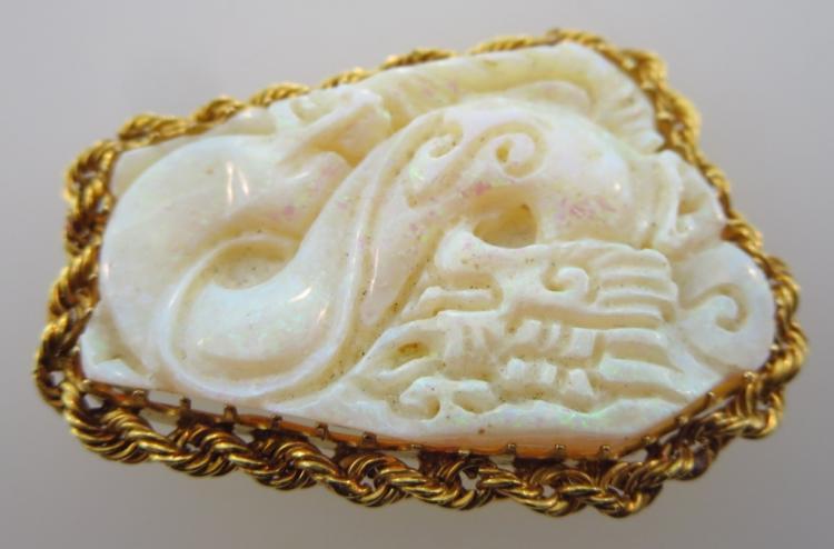 Carved Opal & 14K Gold Brooch