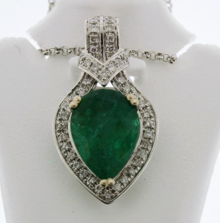 18k Gold, Diamond and Emerald Necklace