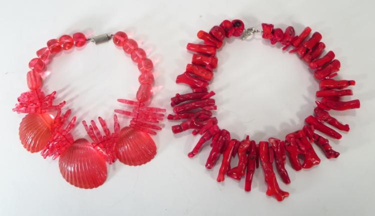 Ugo Correani Shell Necklace and Red Coral Necklace