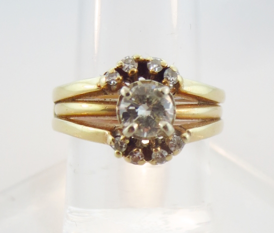14K Yellow Gold Triple Band Diamond Ring