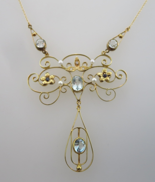 14K Aquamarine, Sapphire, Dia. & Pearl Necklace